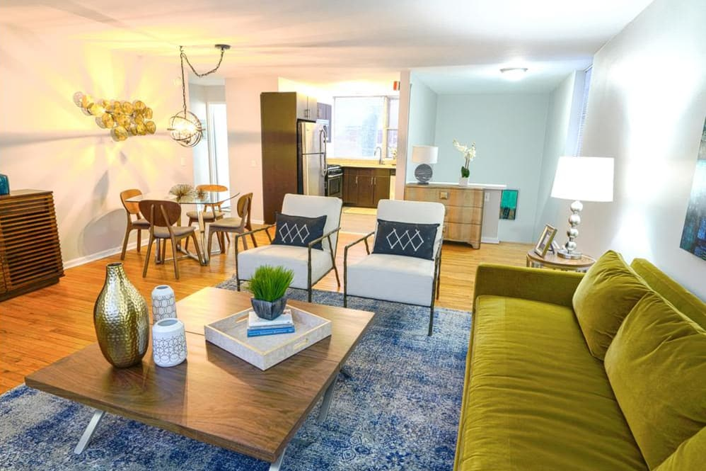 Enjoy apartments with a renovated livingroom at Cherokee Apartments