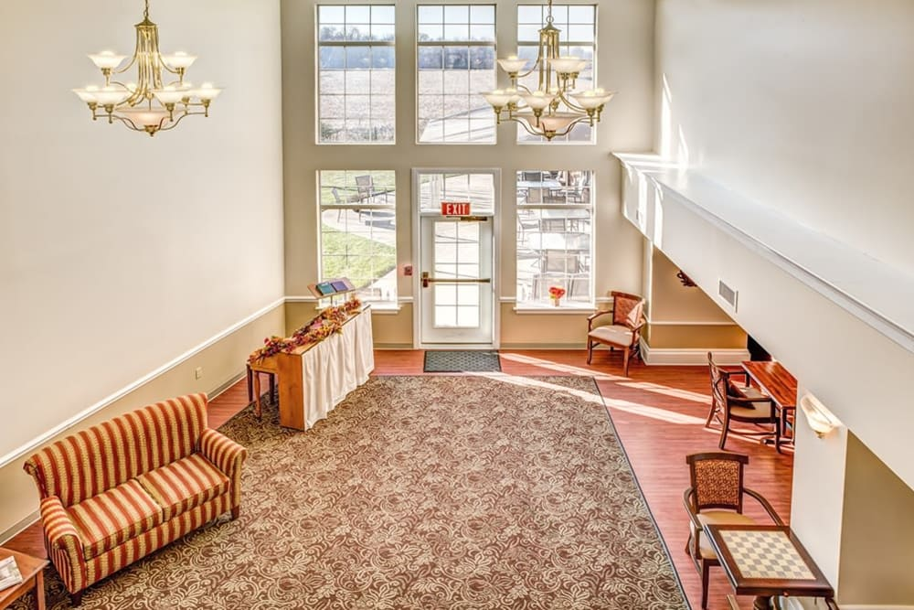 Inviting entry way at Reflections Retirement in Lancaster, Ohio.