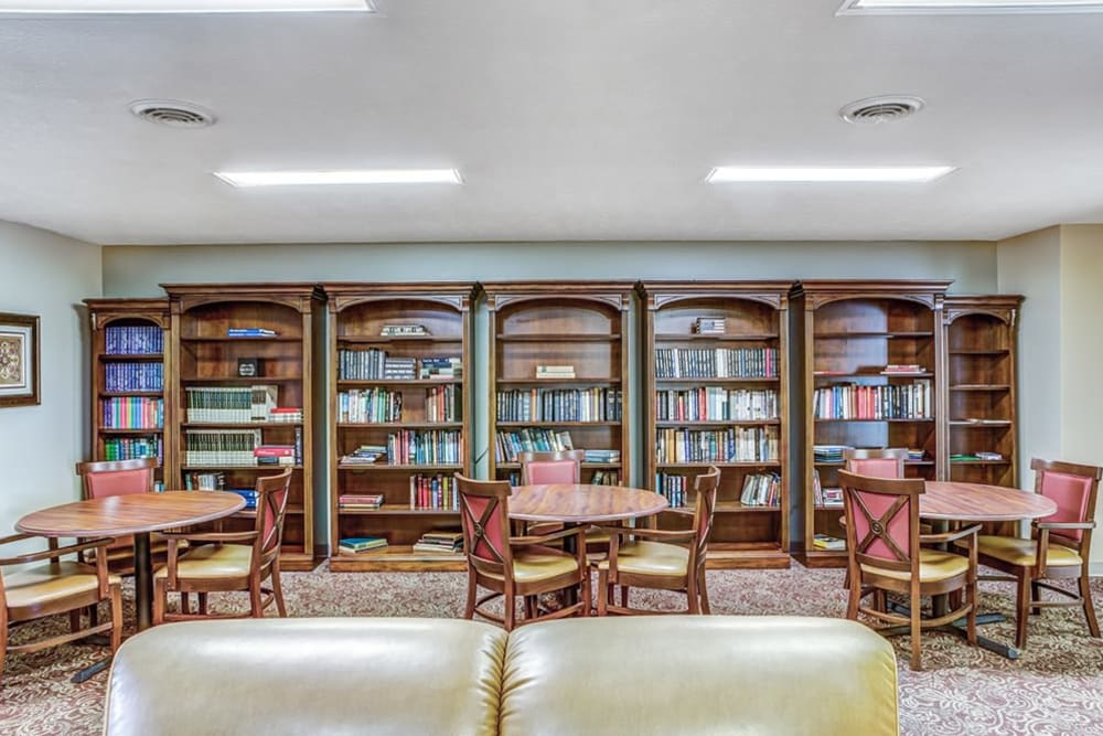 Extensive library at Reflections Retirement in Lancaster, Ohio.