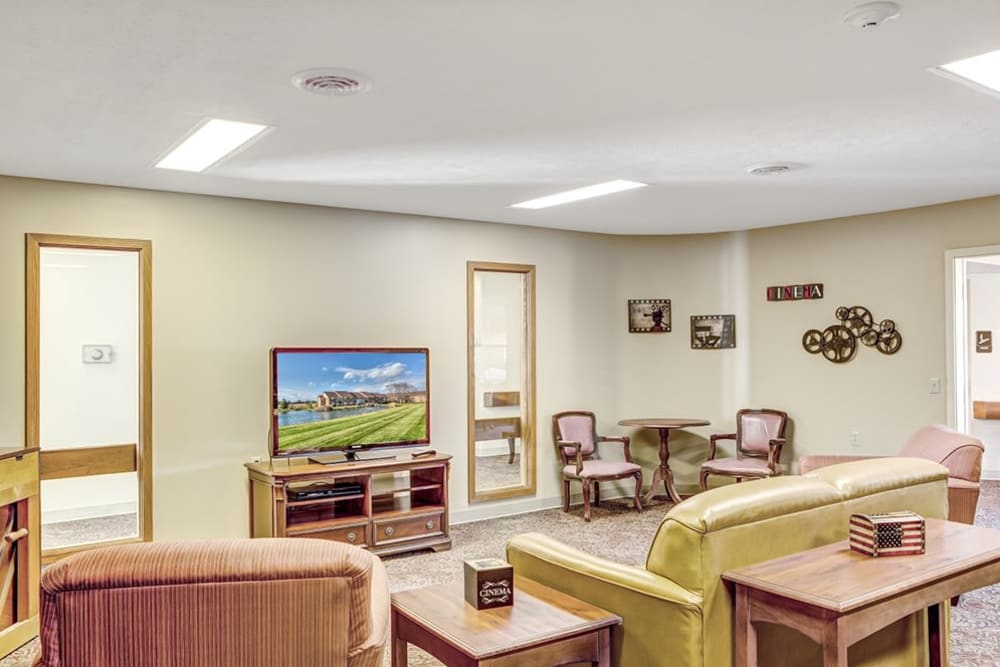 theatre room at Reflections Retirement in Lancaster, Ohio.