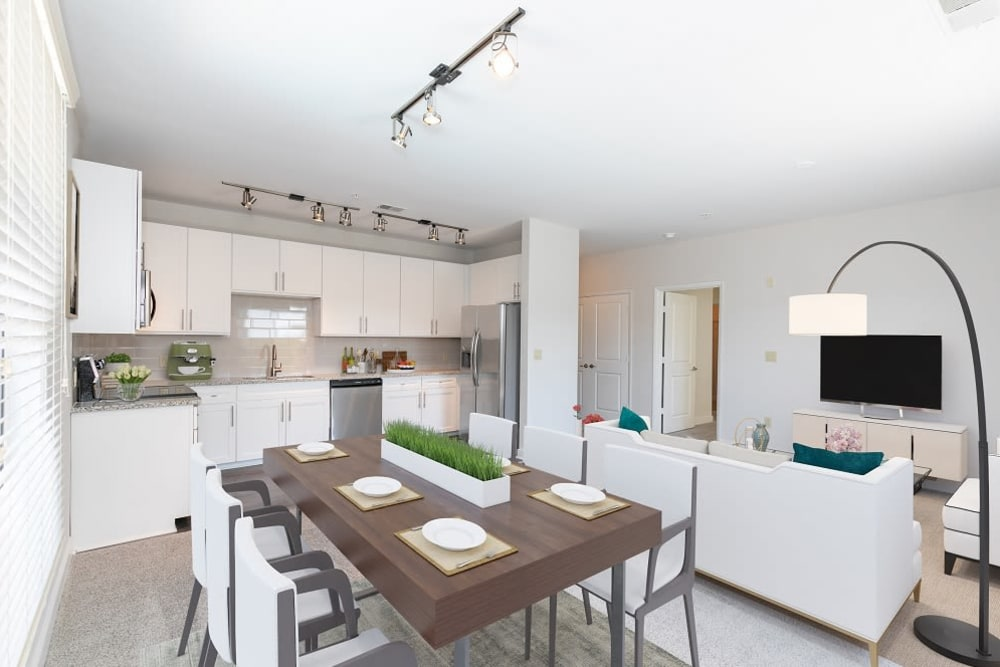 Model dining and living room areas at McBee Station in Greenville, South Carolina