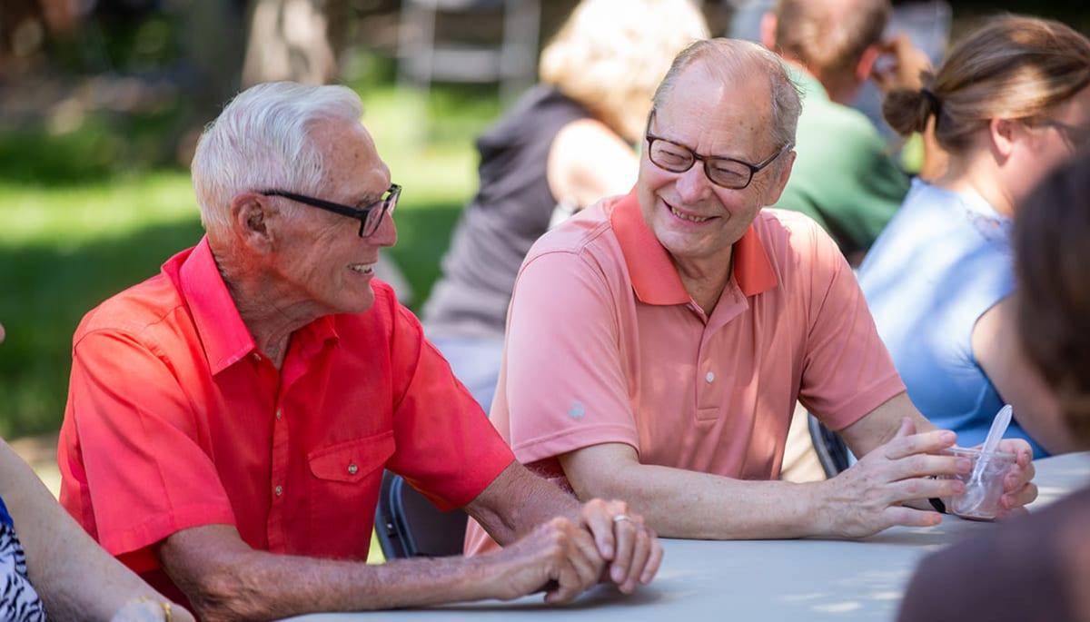 senior residents enjoying the outside weather