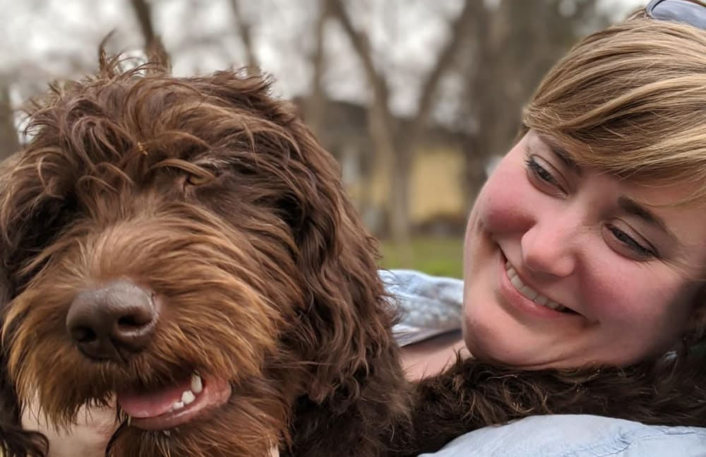 Anne-Marie from Touchmark at Harwood Groves in Fargo, North Dakota and her dog Bea
