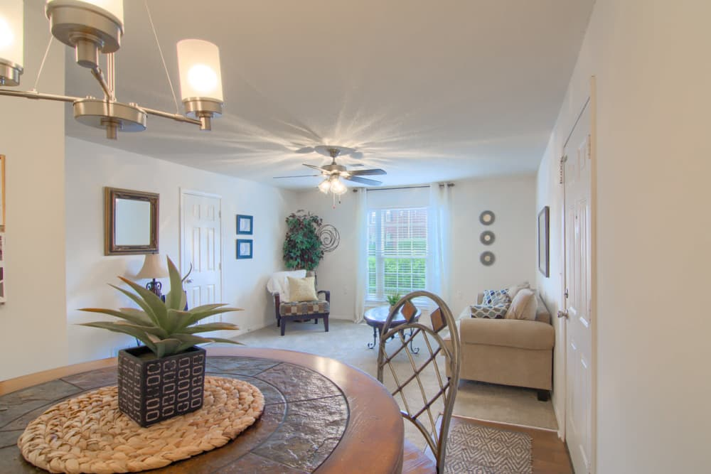 Dining room and living room at Annandale Gardens in Olive Branch, Mississippi