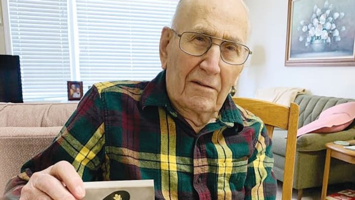 Resident Ray Curtis celebrating his 104th birthday