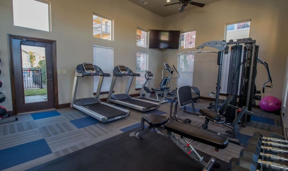 Fitness center amenities at our apartments in Moore, OK