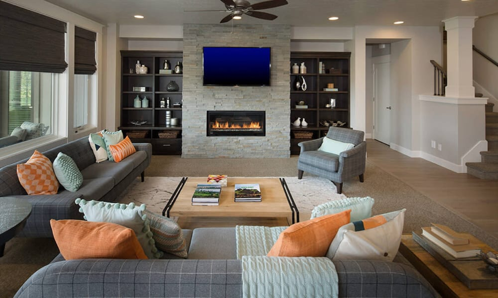 Transitional living room at Touchmark at Meadow Lake Village in Meridian, Idaho