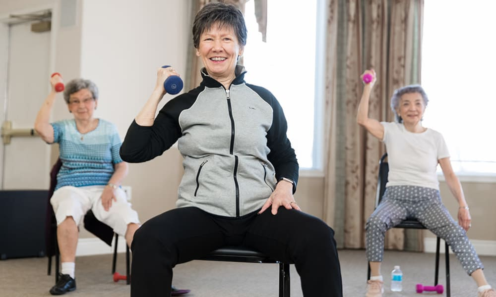Residents exercising at Touchmark at Wedgewood in Edmonton, Alberta