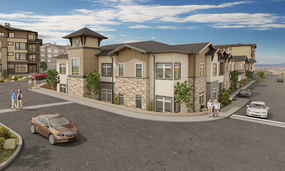 An exterior rendering at Touchmark at The Ranch in Prescott, Arizona