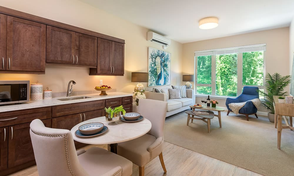 Independent living apartment at Touchmark in the West Hills in Portland, Oregon