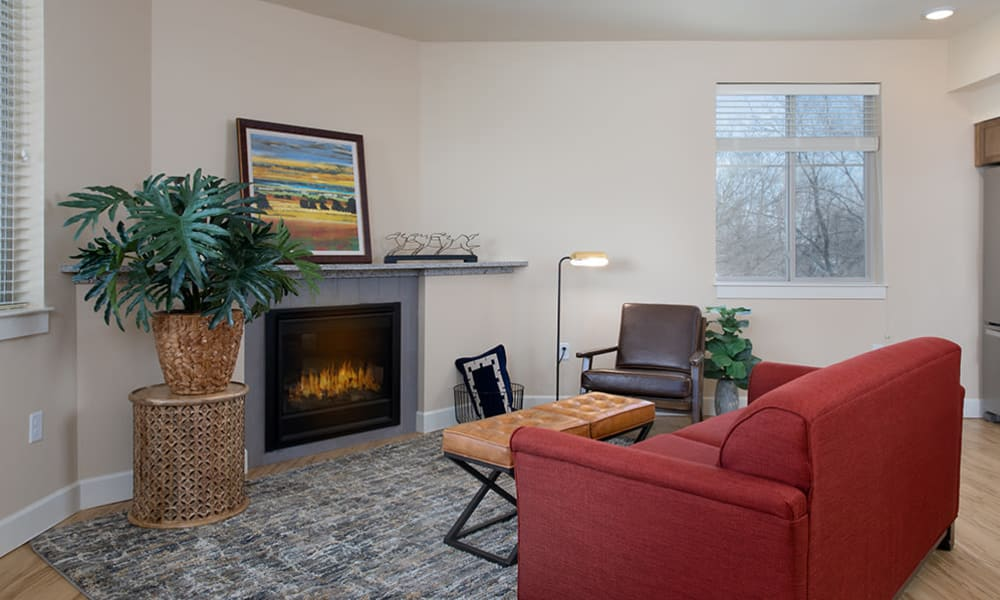 An assisted living apartment living room at Touchmark at All Saints in Sioux Falls, South Dakota