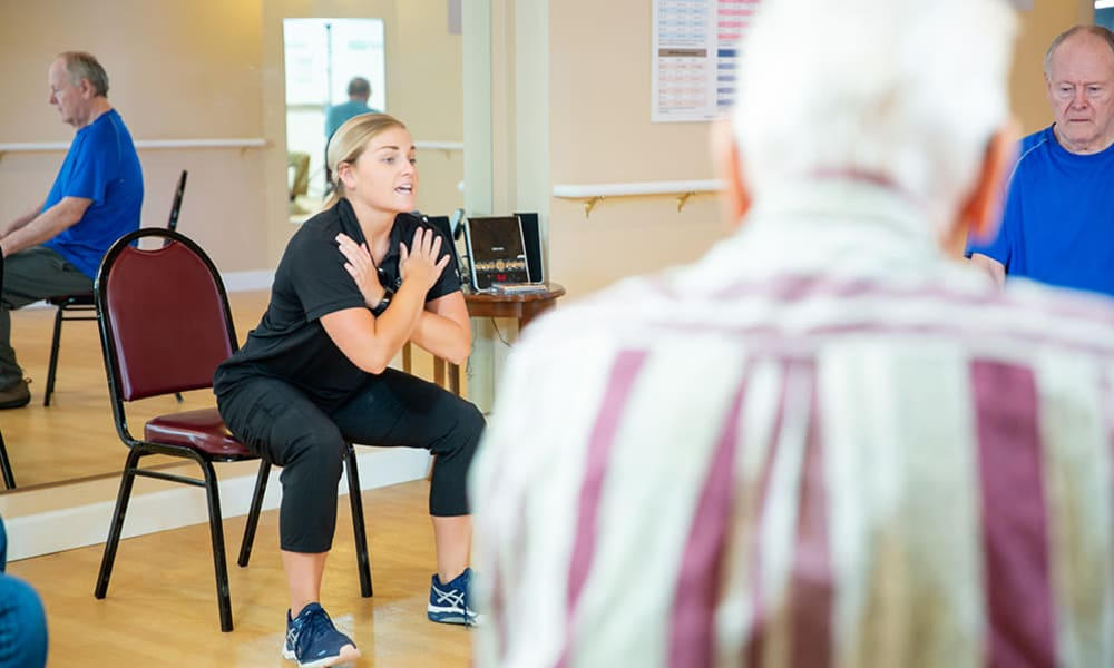 Residents exercising at Touchmark at All Saints in Sioux Falls, South Dakota