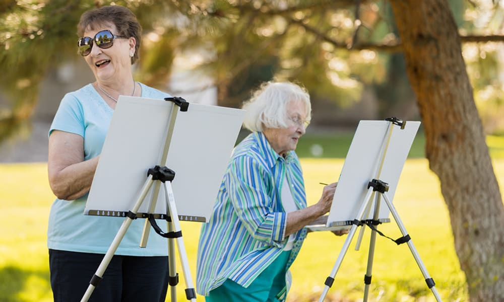 Residents painting at Touchmark on Saddle Drive in Helena, Montana