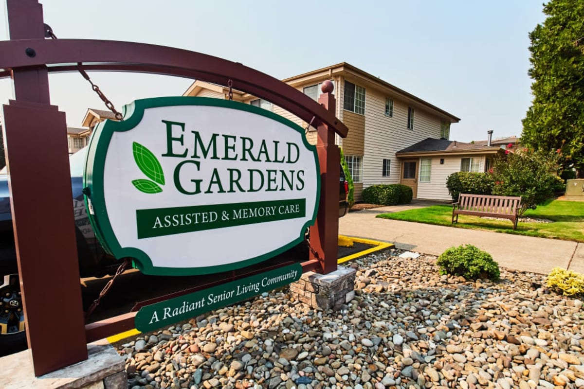 Signage at Emerald Gardens in Woodburn, Oregon