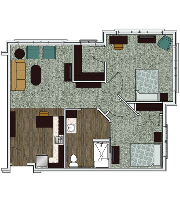 Stonecrest of Meridian Hills's two bedroom assisted living apartment