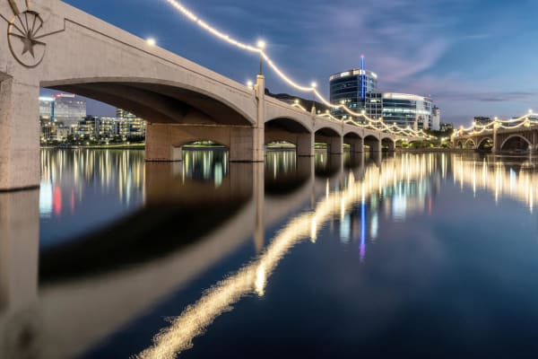 Views of the city at night from Hudson on Farmer in Tempe, Arizona