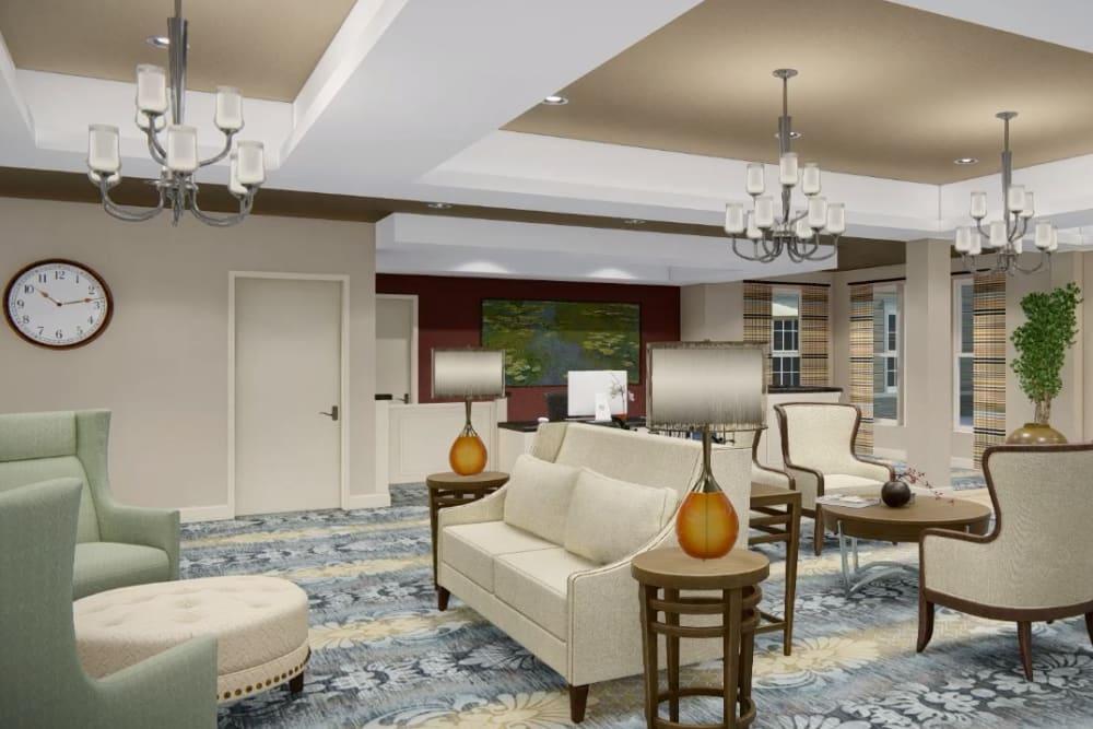 Architectural rendering of lobby at Harmony at Harts Run in Glenshaw, Pennsylvania