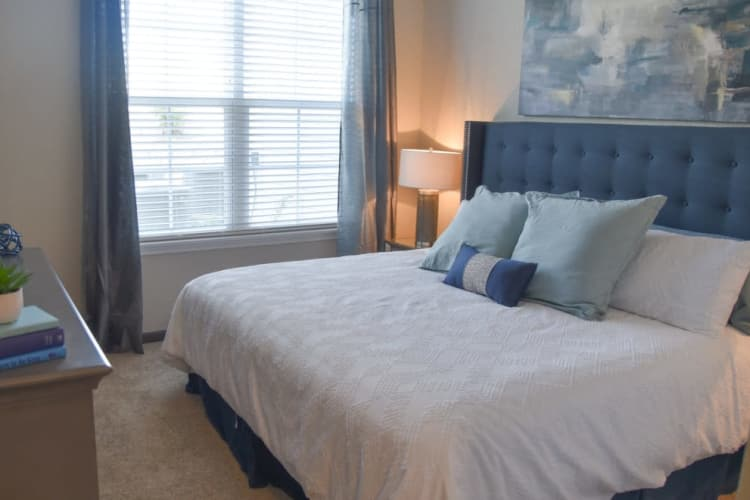 Model bedroom at Springs at Cobblestone Lake in Apple Valley, Minnesota