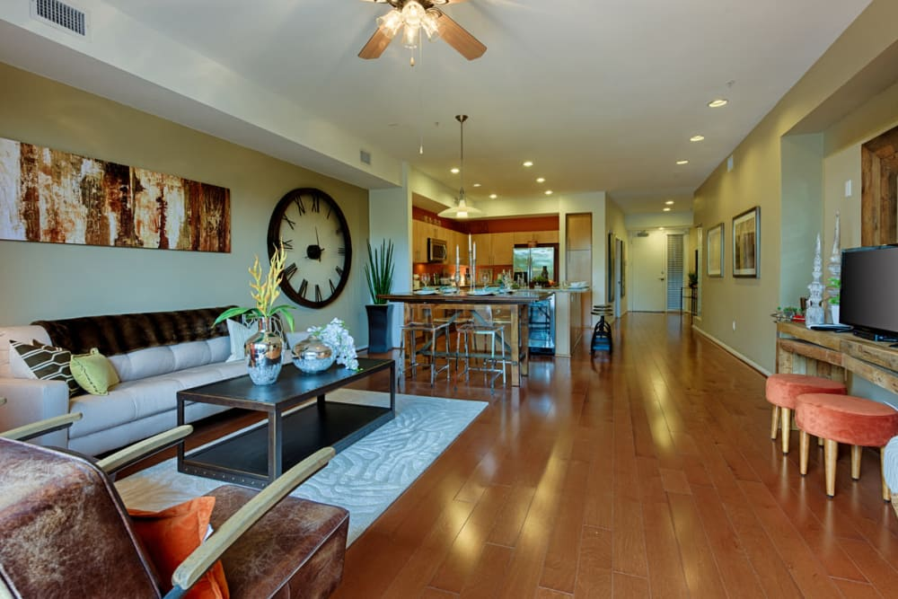 Kitchen and dining area at Ten Wine Lofts in Scottsdale, Arizona