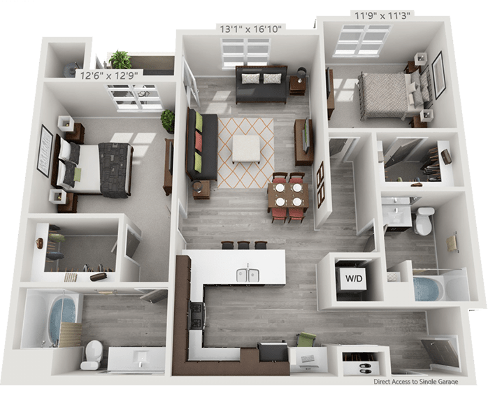 View 2 Bedroom Floor Plans at Solana Lucent Station | Apartments in Highlands Ranch, Colorado