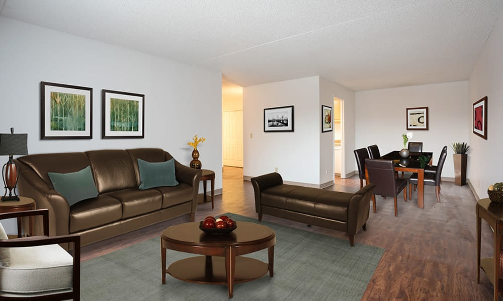 Spacious living room at Park Guilderland Apartments in Guilderland Center, New York