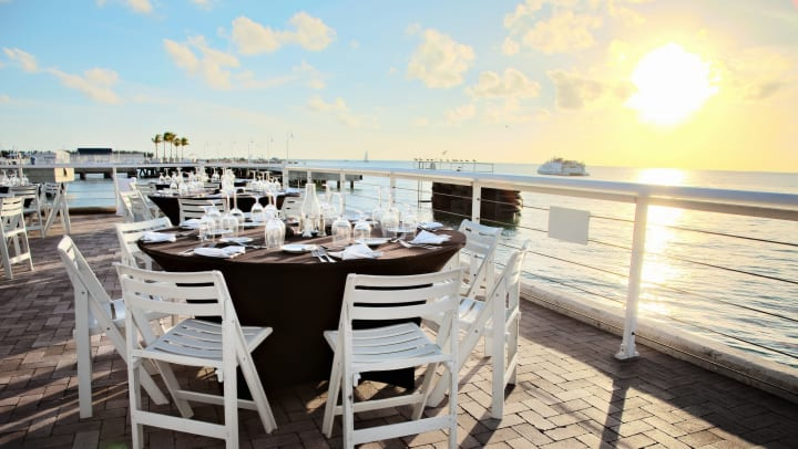 Gorgeous view of the ocean from a seaside restaurant near Cape House Apartments in Jacksonville, Florida
