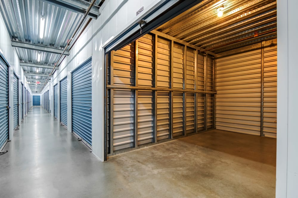 Well-lit hallways and units at Carlsbad Self Storage in Carlsbad, CA