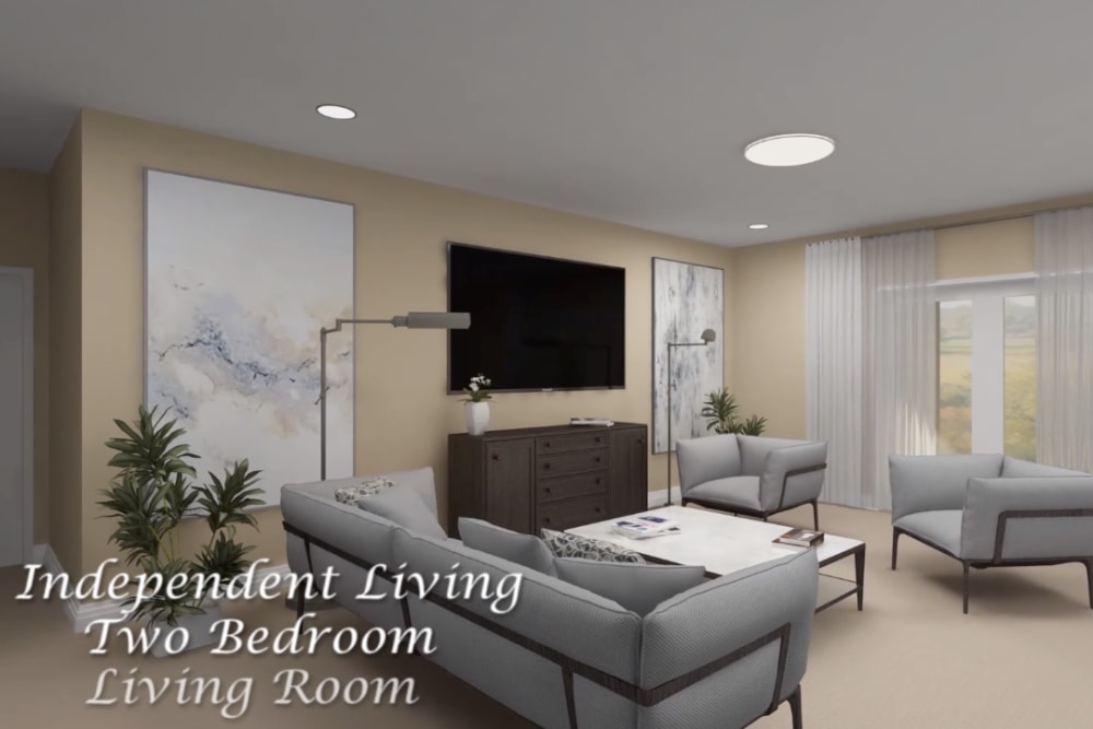 Architectural rendering of living room at Harmony at Brookberry Farm in Winston-Salem, North Carolina
