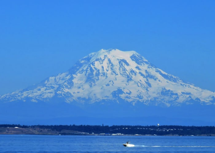A view of Mount Rainier near GenCare LifeStyle at Point Ruston in Tacoma, Washington