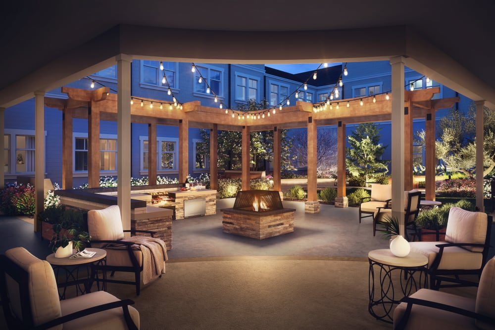 A rendering of the courtyard at Clearwater at Rancharrah in Reno, Nevada