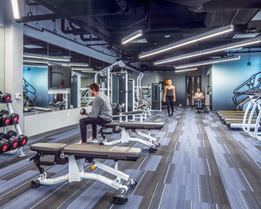 Fully equipped gym at RISE at Riverfront Crossings in Iowa City, Iowa