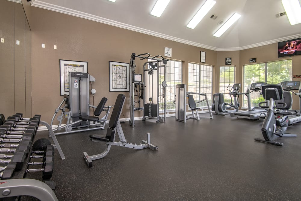 Spacious fitnes facility at Ballantyne Apartments in Lewisville, Texas