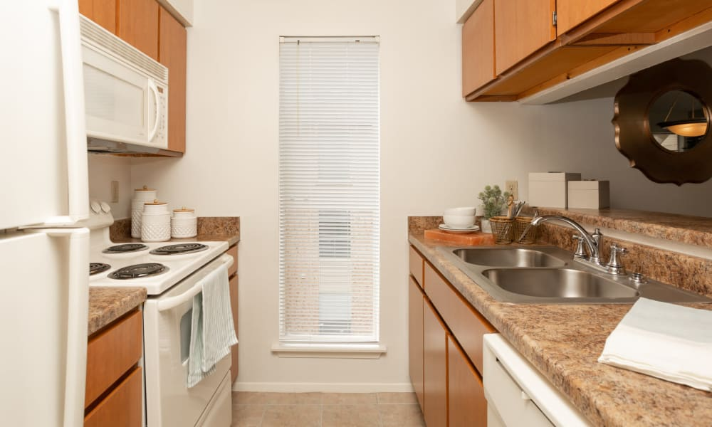 An apartment kitchen at Mountain Village in El Paso, Texas