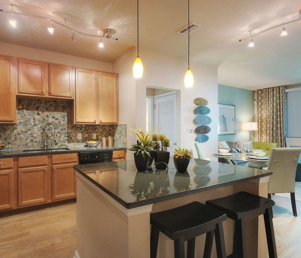 Kitchen and living room at Luxe at 1820 in Tampa, Florida