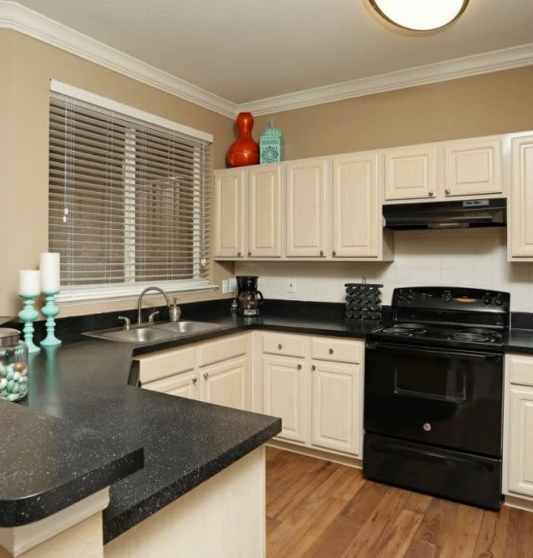 Spacious kitchen with a large window sink at Amara at MetroWest in Orlando, Florida