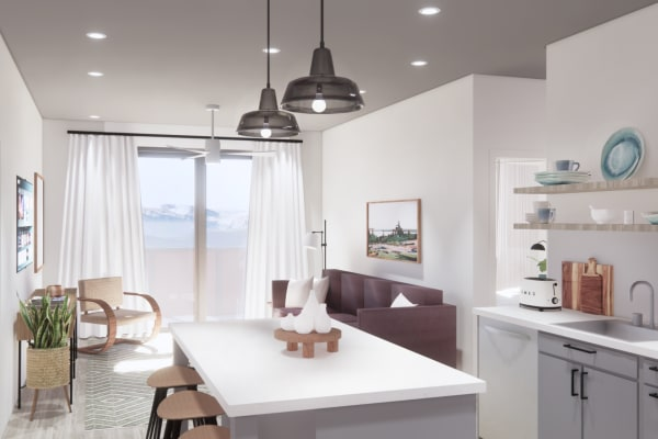 Rendering of a spacious living room and upgraded kitchen space at The Piedmont in Tempe, Arizona
