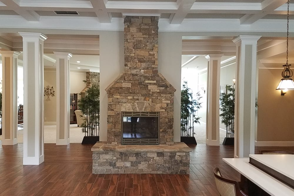 Cozy fireplace at Blue Ridge Assisted Living