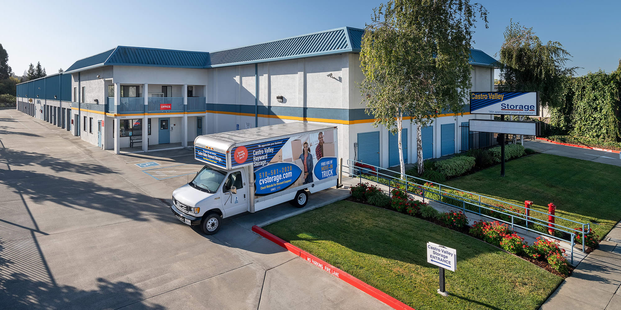Outside view and moving truck at Castro Valley Storage LLC in Castro Valley, California