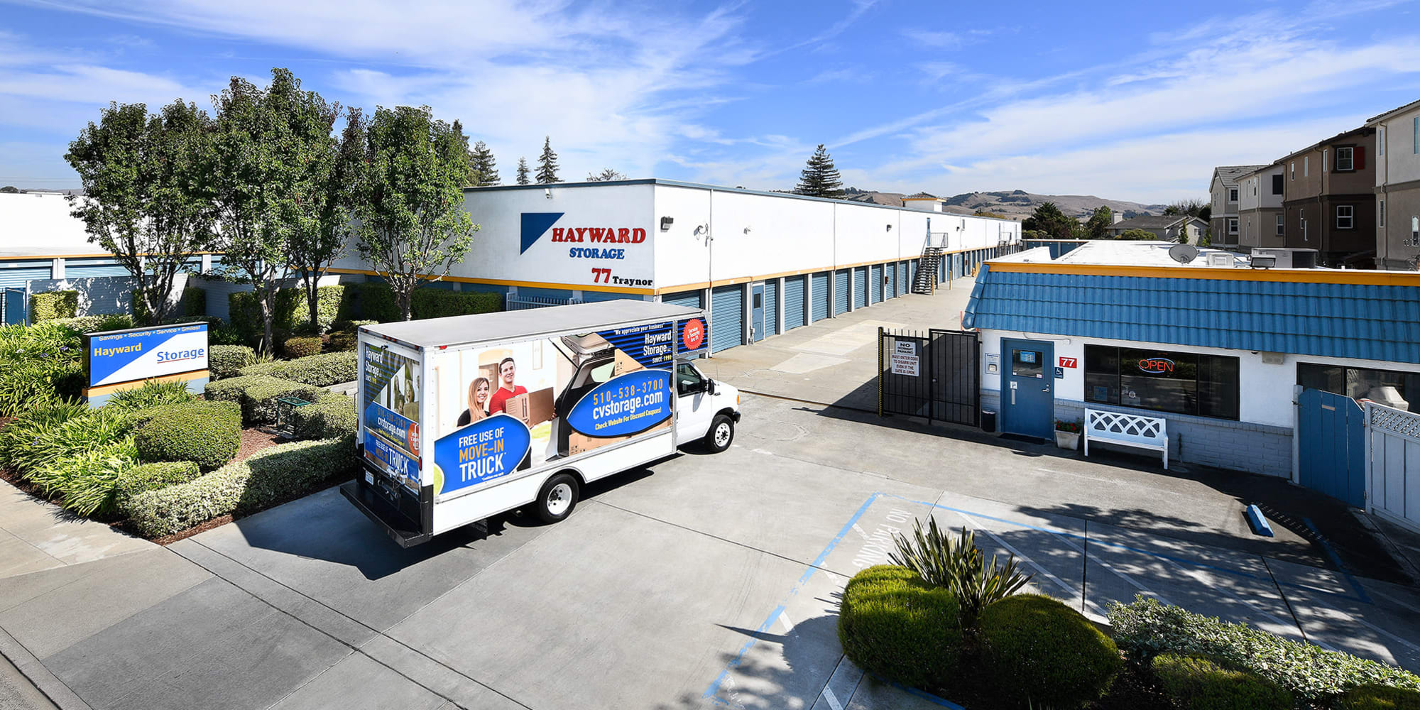 Outside view and moving truck at Hayward Storage LLC in Hayward, California