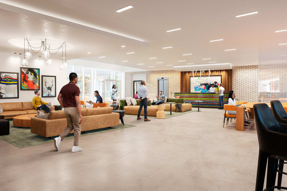 Rendering of the  Front entrance and lobby at Prairie Shores