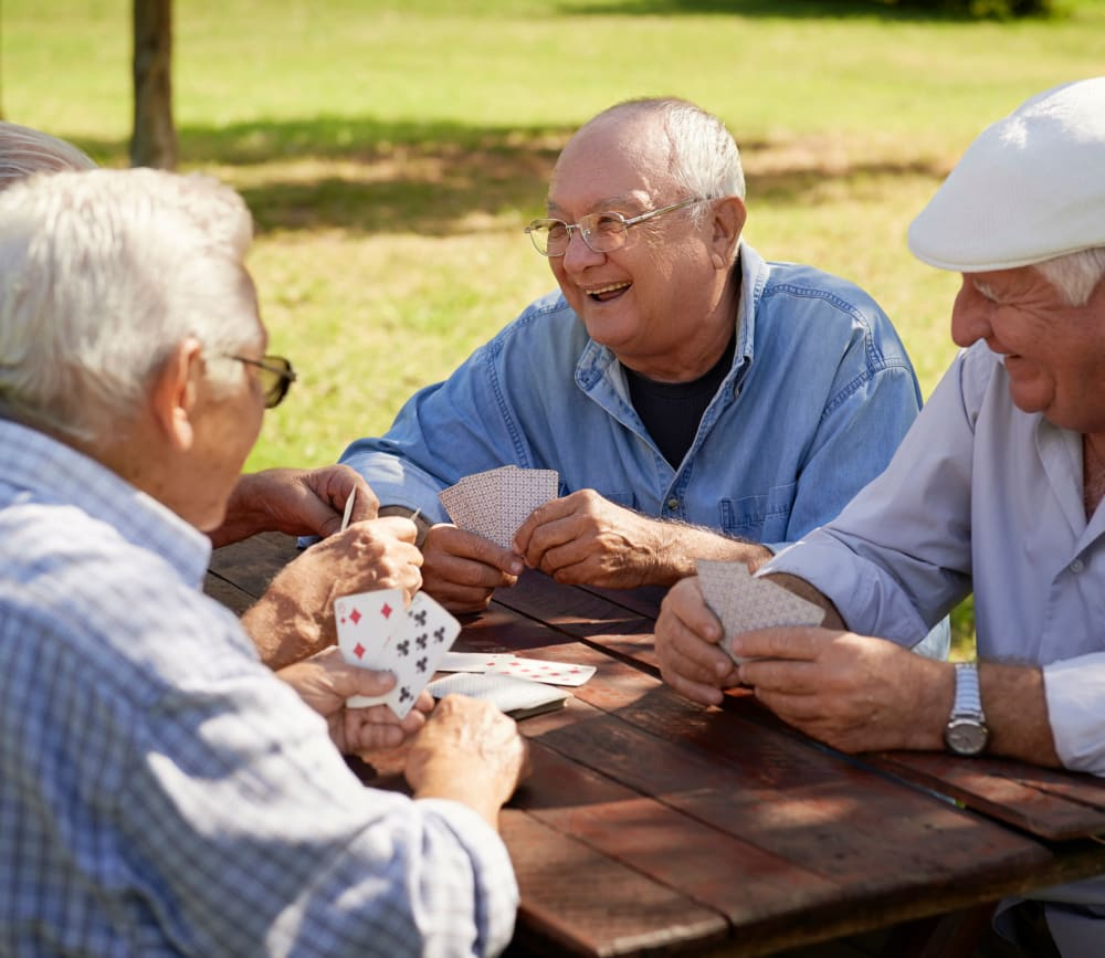 Residents playing cards at Clearwater at Glendora in Glendora, California