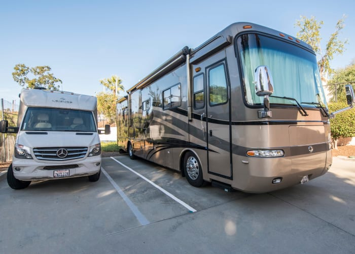 RVs stored at Golden Triangle Self Storage in San Diego, California
