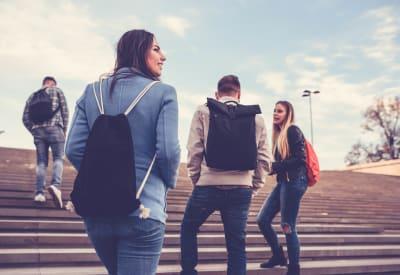 Students walking to school together near Gardencrest in Waltham, Massachusetts
