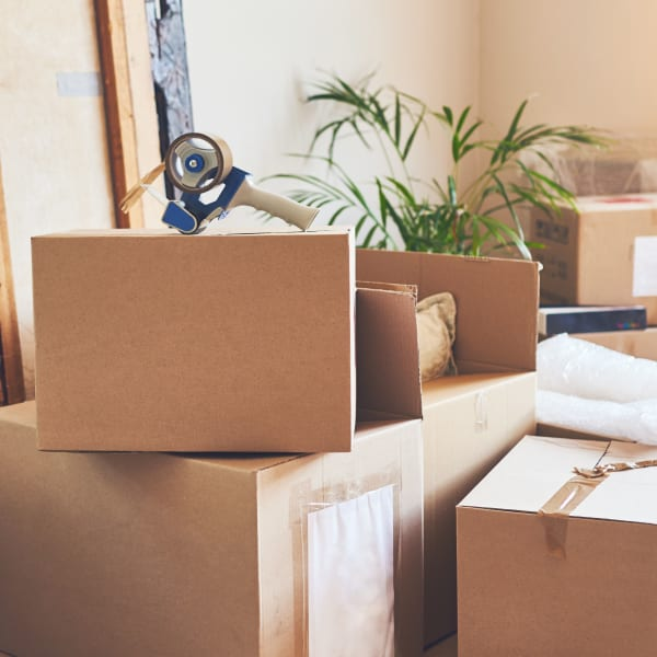 Freshly-packed boxes at a home near Big E Self Storage in Stockton, California