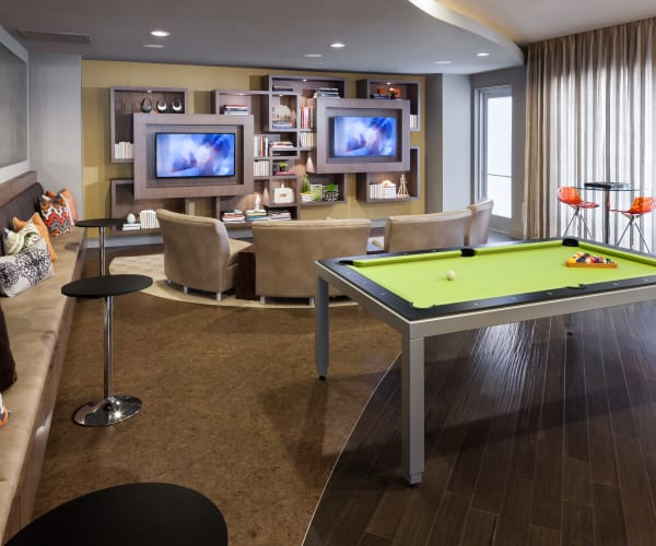 Game room in Maple District Lofts's clubhouse in Dallas, Texas