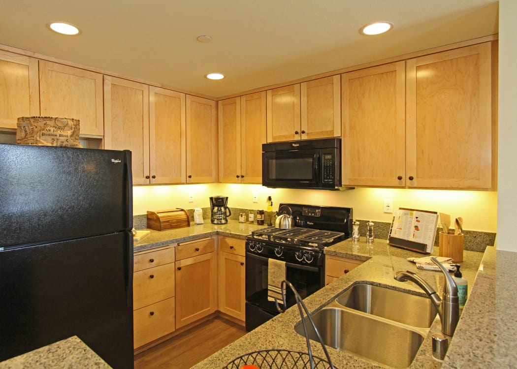 Beautiful gourmet kitchen with black appliances in model home at IMT Magnolia in Sherman Oaks, CA