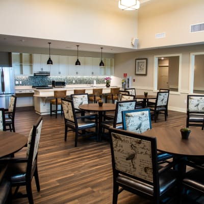 Large resident dining room at Westminster Memory Care in Lexington, South Carolina