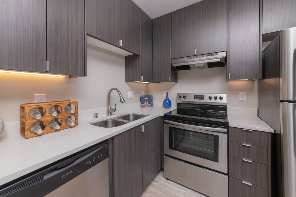 Luxury apartments with stainless-steel appliances at Mia