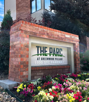Apartment sign for The Parc at Greenwood Village in Greenwood Village, Colorado