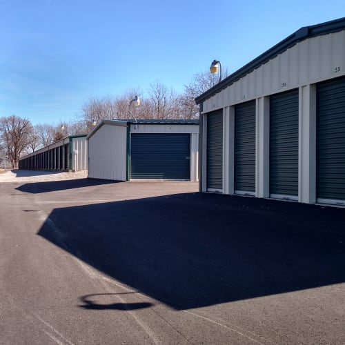 Outdoor storage units at Red Dot Storage in Decatur, Illinois